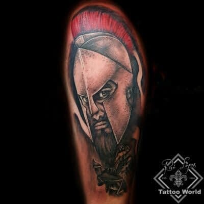 300 Krieger Portrait 3d Tattoo