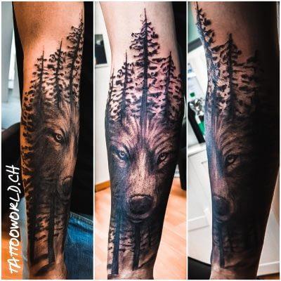 Wolf Wald Tattoo Arm